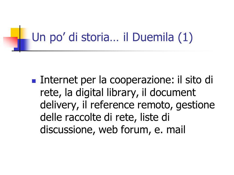 Un po di storia… il Duemila (1) Internet per la cooperazione: il sito di rete, la digital library, il document delivery, il reference remoto, gestione delle raccolte di rete, liste di discussione, web forum, e.