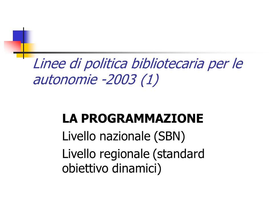 Linee di politica bibliotecaria per le autonomie -2003 (1) LA PROGRAMMAZIONE Livello nazionale (SBN) Livello regionale (standard obiettivo dinamici)