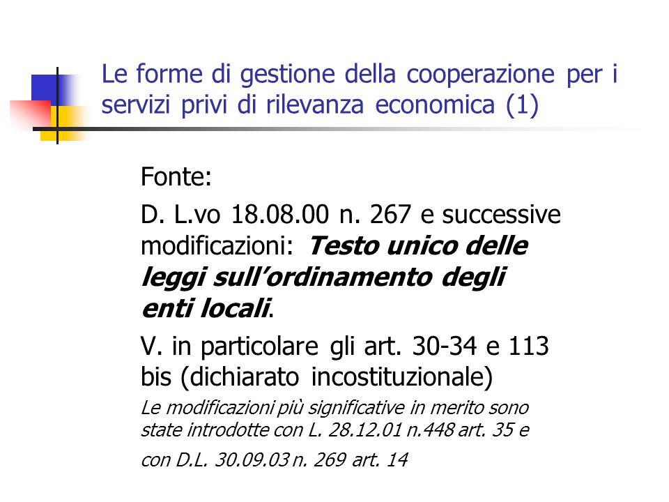 Le forme di gestione della cooperazione per i servizi privi di rilevanza economica (1) Fonte: D.