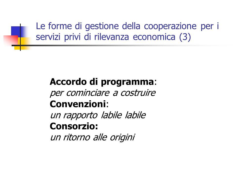 Le forme di gestione della cooperazione per i servizi privi di rilevanza economica (3) Accordo di programma: per cominciare a costruire Convenzioni: un rapporto labile labile Consorzio: un ritorno alle origini