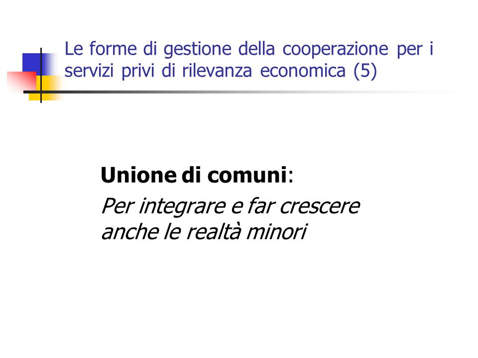Le forme di gestione della cooperazione per i servizi privi di rilevanza economica (5) Unione di comuni: Per integrare e far crescere anche le realtà minori