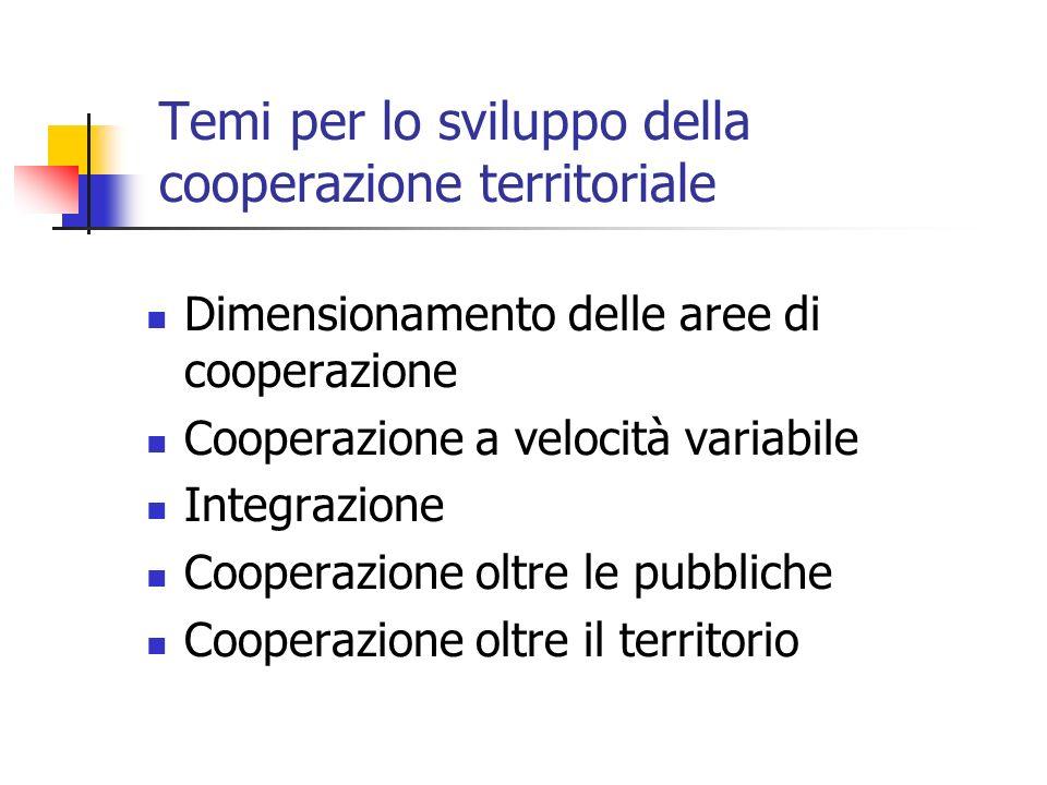 Temi per lo sviluppo della cooperazione territoriale Dimensionamento delle aree di cooperazione Cooperazione a velocità variabile Integrazione Cooperazione oltre le pubbliche Cooperazione oltre il territorio