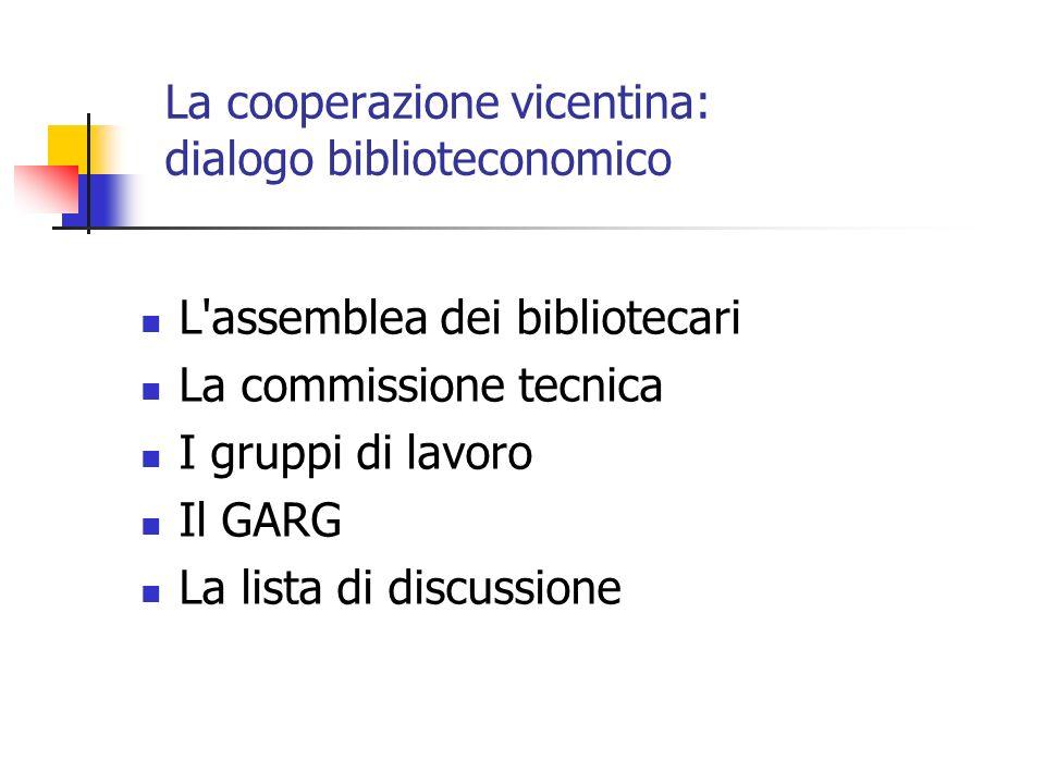 La cooperazione vicentina: dialogo biblioteconomico L assemblea dei bibliotecari La commissione tecnica I gruppi di lavoro Il GARG La lista di discussione
