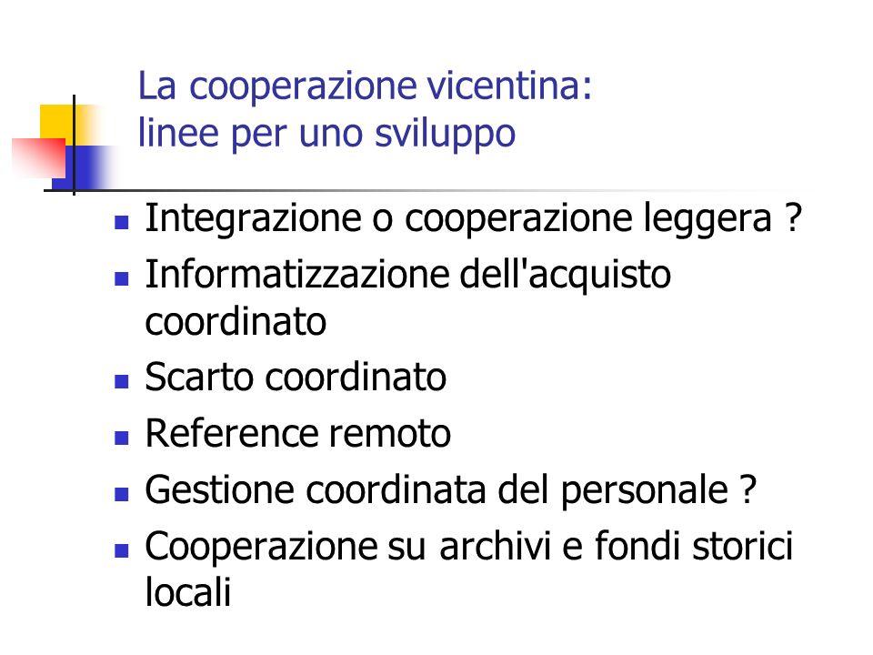 La cooperazione vicentina: linee per uno sviluppo Integrazione o cooperazione leggera .