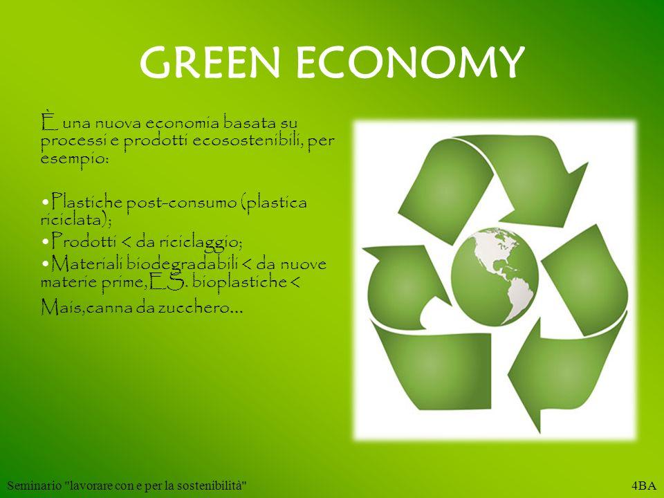 GREEN ECONOMY È una nuova economia basata su processi e prodotti ecosostenibili, per esempio: Plastiche post-consumo (plastica riciclata); Prodotti <