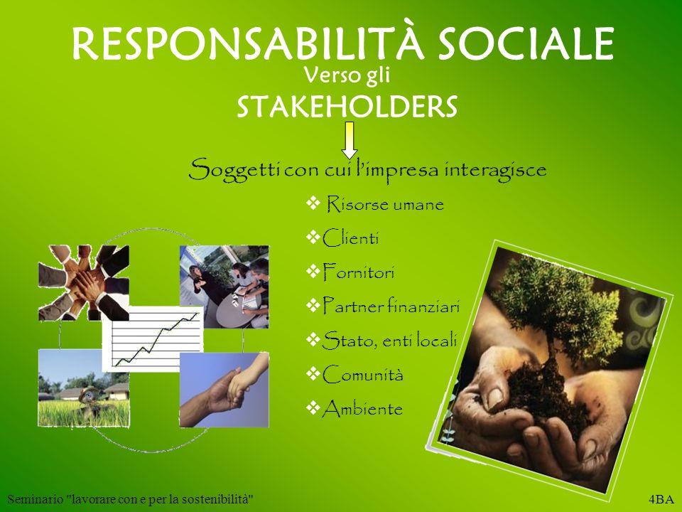 RESPONSABILITÀ SOCIALE Verso gli STAKEHOLDERS Soggetti con cui limpresa interagisce Risorse umane Clienti Fornitori Partner finanziari Stato, enti loc