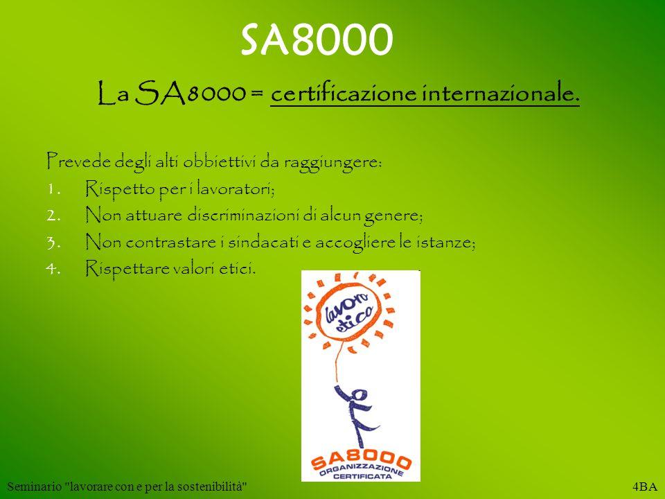 SA8000 La SA8000 = certificazione internazionale. Prevede degli alti obbiettivi da raggiungere: 1.Rispetto per i lavoratori; 2.Non attuare discriminaz
