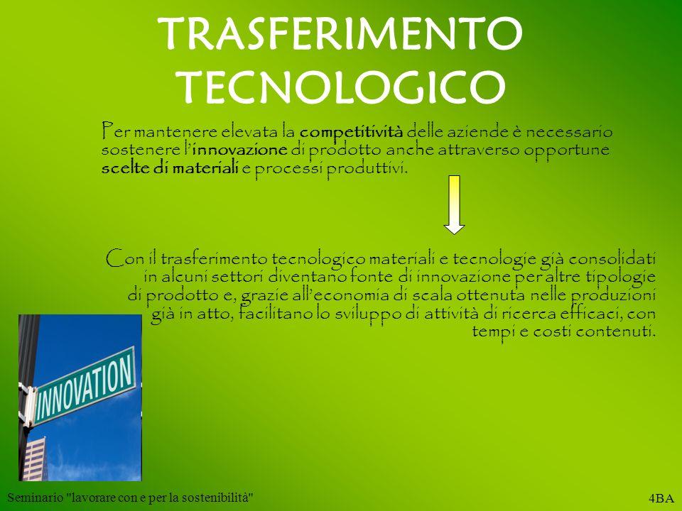TRASFERIMENTO TECNOLOGICO Per mantenere elevata la competitività delle aziende è necessario sostenere linnovazione di prodotto anche attraverso opport