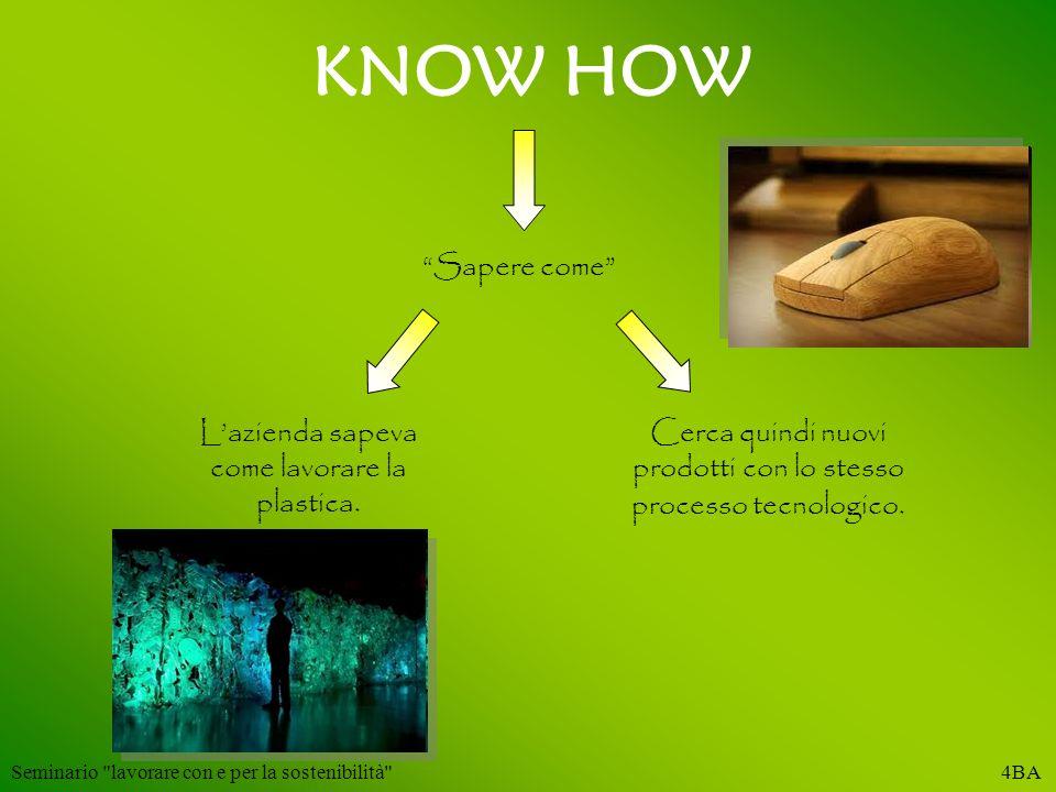 KNOW HOW Sapere come Lazienda sapeva come lavorare la plastica. Cerca quindi nuovi prodotti con lo stesso processo tecnologico. Seminario
