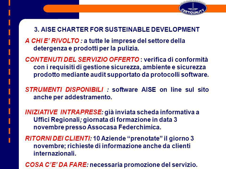 3. AISE CHARTER FOR SUSTEINABLE DEVELOPMENT A CHI E RIVOLTO : a tutte le imprese del settore della detergenza e prodotti per la pulizia. CONTENUTI DEL