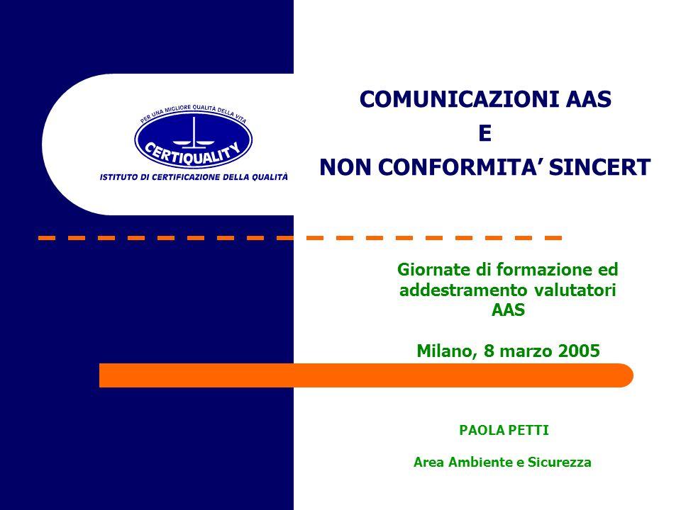 COMUNICAZIONI AAS E NON CONFORMITA SINCERT PAOLA PETTI Area Ambiente e Sicurezza Giornate di formazione ed addestramento valutatori AAS Milano, 8 marzo 2005