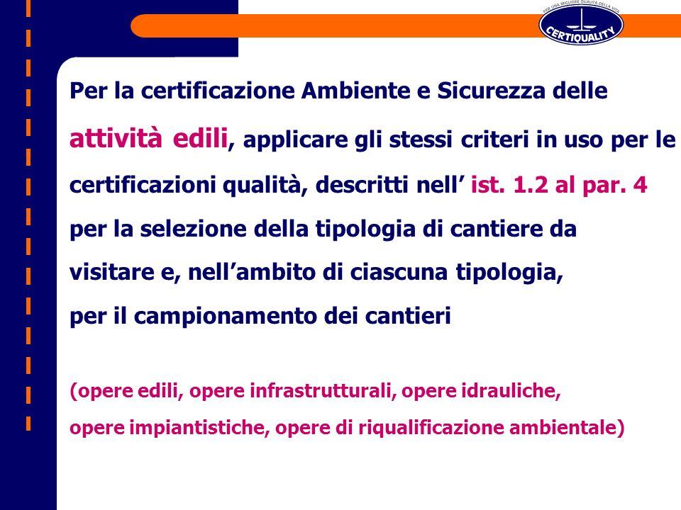 Per la certificazione Ambiente e Sicurezza delle attività edili, applicare gli stessi criteri in uso per le certificazioni qualità, descritti nell ist.