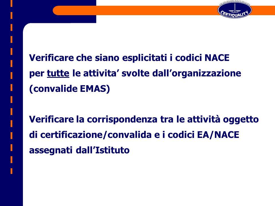 Verificare che siano esplicitati i codici NACE per tutte le attivita svolte dallorganizzazione (convalide EMAS) Verificare la corrispondenza tra le attività oggetto di certificazione/convalida e i codici EA/NACE assegnati dallIstituto