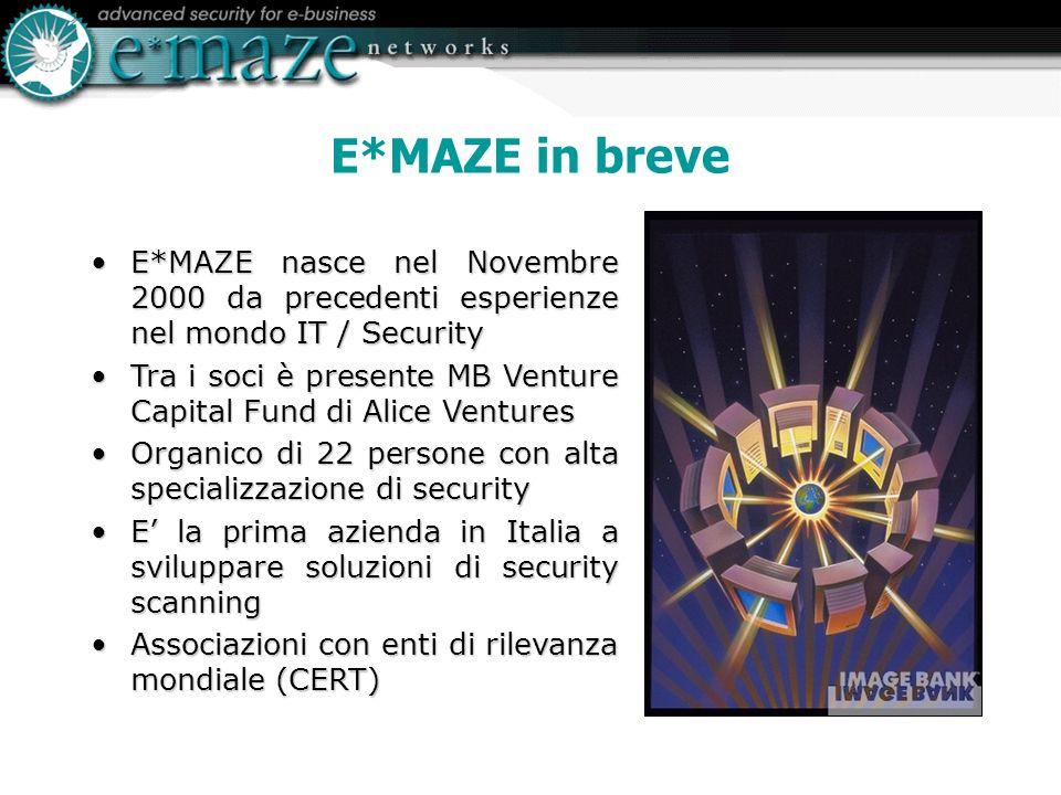 E*MAZE in breve E*MAZE nasce nel Novembre 2000 da precedenti esperienze nel mondo IT / SecurityE*MAZE nasce nel Novembre 2000 da precedenti esperienze nel mondo IT / Security Tra i soci è presente MB Venture Capital Fund di Alice VenturesTra i soci è presente MB Venture Capital Fund di Alice Ventures Organico di 22 persone con alta specializzazione di securityOrganico di 22 persone con alta specializzazione di security E la prima azienda in Italia a sviluppare soluzioni di security scanningE la prima azienda in Italia a sviluppare soluzioni di security scanning Associazioni con enti di rilevanza mondiale (CERT)Associazioni con enti di rilevanza mondiale (CERT)
