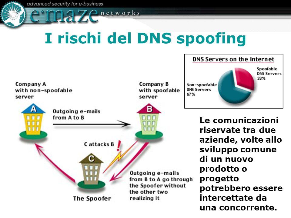 I rischi del DNS spoofing Le comunicazioni riservate tra due aziende, volte allo sviluppo comune di un nuovo prodotto o progetto potrebbero essere intercettate da una concorrente.