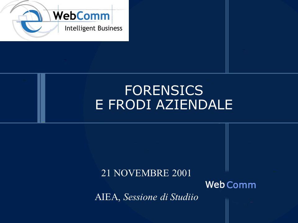 FORENSICS E FRODI AZIENDALE 21 NOVEMBRE 2001 AIEA, Sessione di Studiio