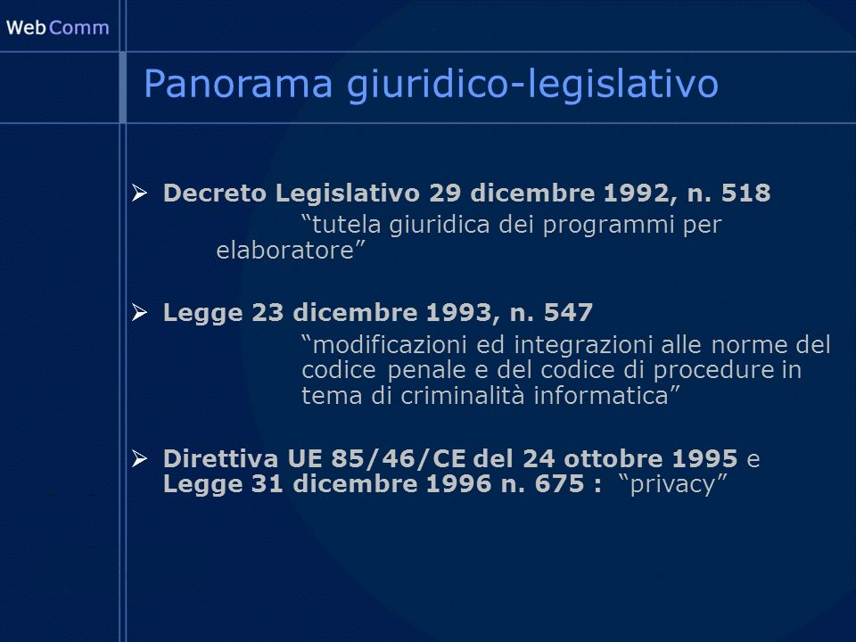 Panorama giuridico-legislativo Decreto Legislativo 29 dicembre 1992, n.