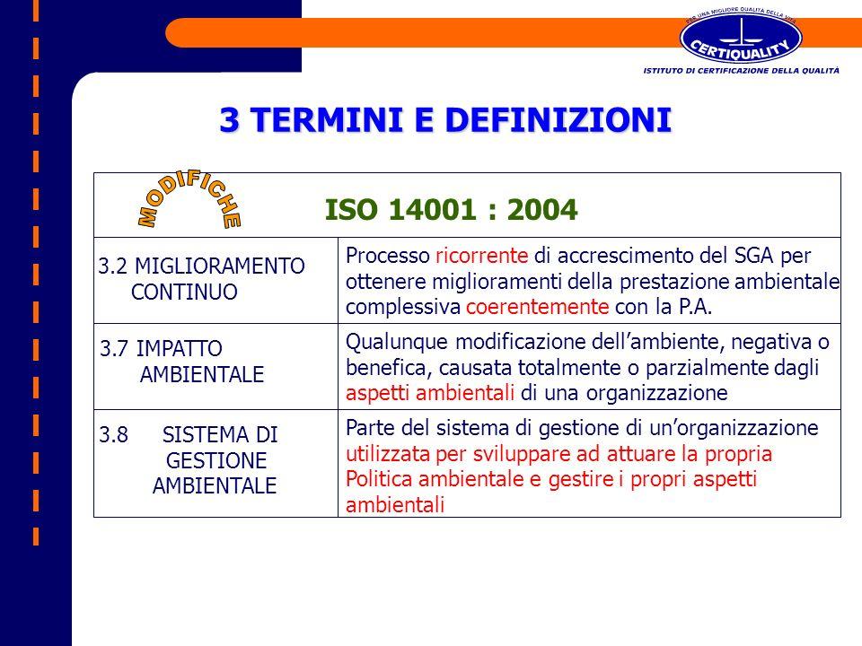 3 TERMINI E DEFINIZIONI ISO 14001 : 2004 3.2 MIGLIORAMENTO CONTINUO Processo ricorrente di accrescimento del SGA per ottenere miglioramenti della pres