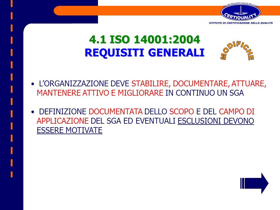 4.1 ISO 14001:2004 REQUISITI GENERALI LORGANIZZAZIONE DEVE STABILIRE, DOCUMENTARE, ATTUARE, MANTENERE ATTIVO E MIGLIORARE IN CONTINUO UN SGA DEFINIZIO