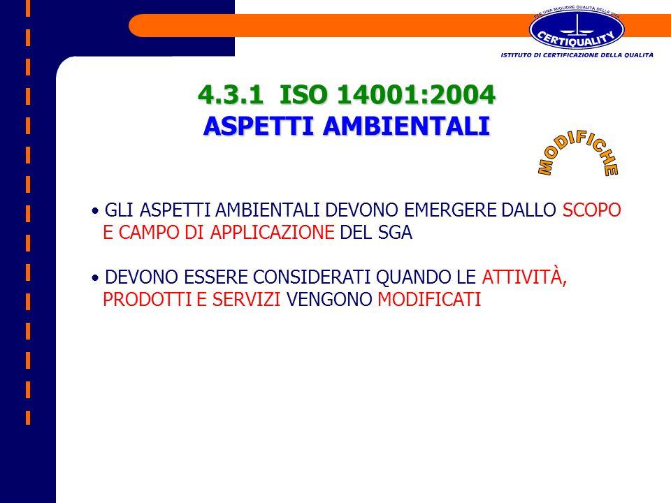 4.3.1 ISO 14001:2004 ASPETTI AMBIENTALI GLI ASPETTI AMBIENTALI DEVONO EMERGERE DALLO SCOPO E CAMPO DI APPLICAZIONE DEL SGA DEVONO ESSERE CONSIDERATI Q