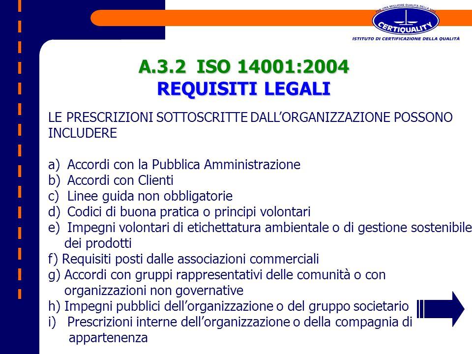 A.3.2 ISO 14001:2004 REQUISITI LEGALI LE PRESCRIZIONI SOTTOSCRITTE DALLORGANIZZAZIONE POSSONO INCLUDERE a)Accordi con la Pubblica Amministrazione b)Ac