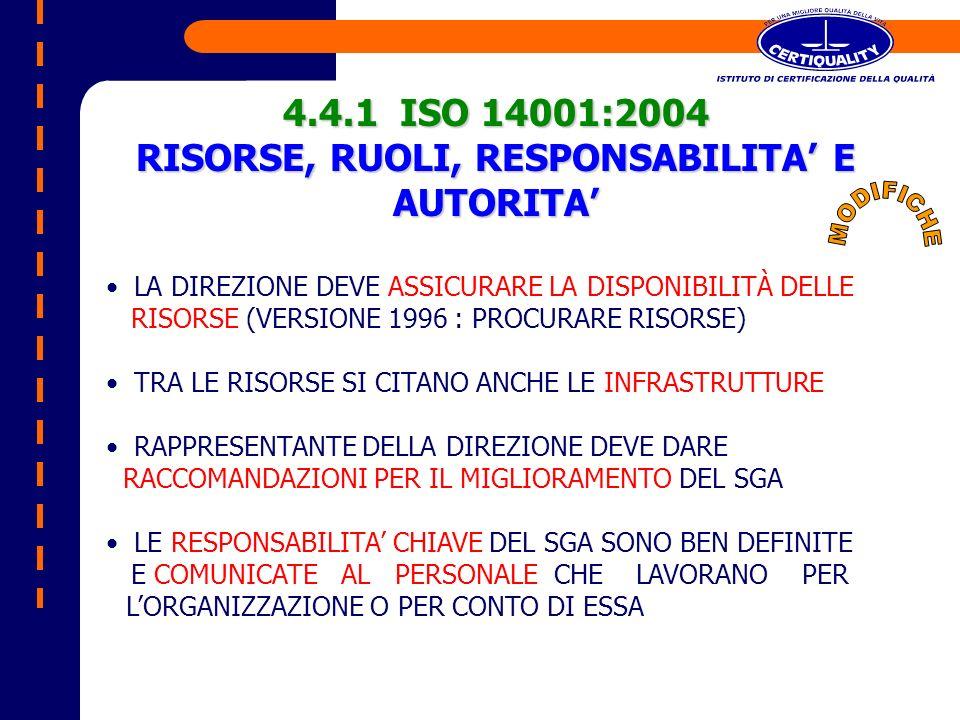 4.4.1 ISO 14001:2004 RISORSE, RUOLI, RESPONSABILITA E AUTORITA LA DIREZIONE DEVE ASSICURARE LA DISPONIBILITÀ DELLE RISORSE (VERSIONE 1996 : PROCURARE