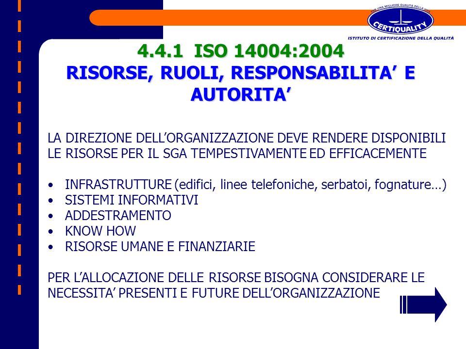 4.4.1 ISO 14004:2004 RISORSE, RUOLI, RESPONSABILITA E AUTORITA LA DIREZIONE DELLORGANIZZAZIONE DEVE RENDERE DISPONIBILI LE RISORSE PER IL SGA TEMPESTI