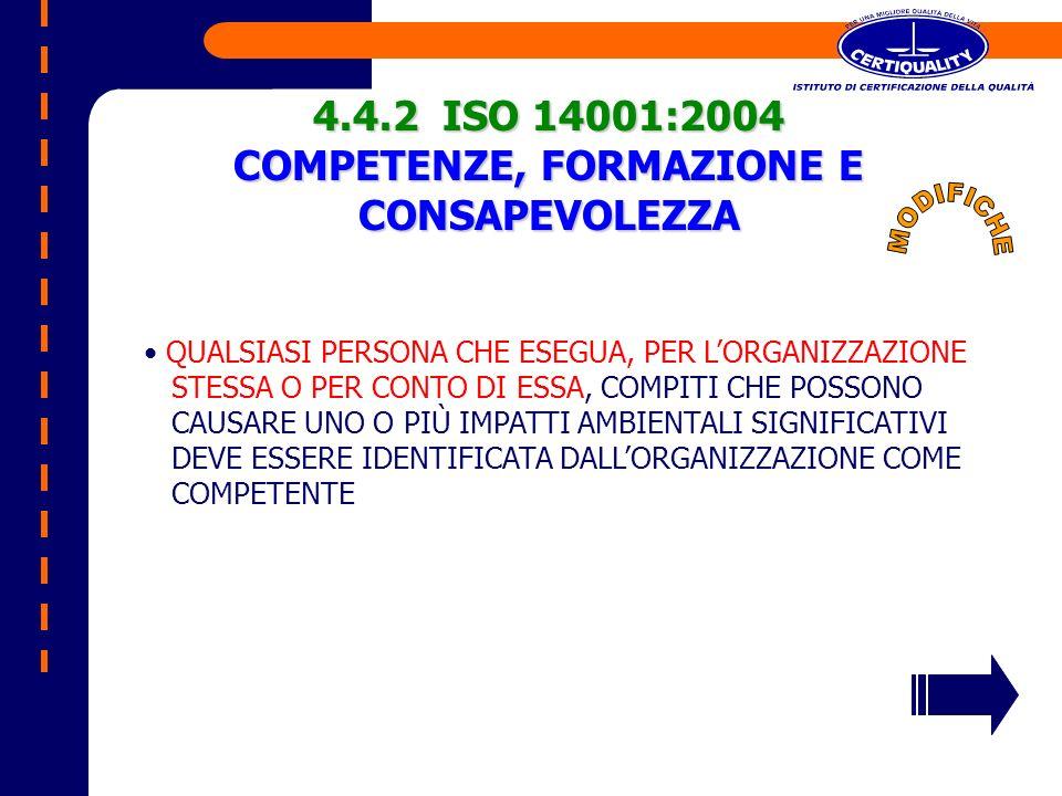 4.4.2 ISO 14001:2004 COMPETENZE, FORMAZIONE E CONSAPEVOLEZZA QUALSIASI PERSONA CHE ESEGUA, PER LORGANIZZAZIONE STESSA O PER CONTO DI ESSA, COMPITI CHE