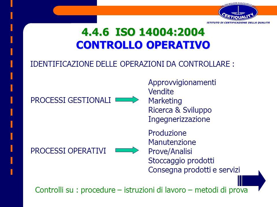 IDENTIFICAZIONE DELLE OPERAZIONI DA CONTROLLARE : 4.4.6 ISO 14004:2004 CONTROLLO OPERATIVO PROCESSI GESTIONALI Approvvigionamenti Vendite Marketing Ri