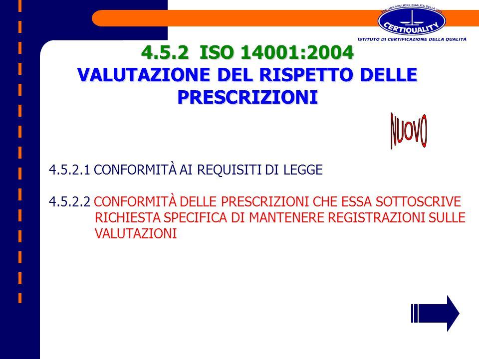 4.5.2 ISO 14001:2004 VALUTAZIONE DEL RISPETTO DELLE PRESCRIZIONI 4.5.2.1 CONFORMITÀ AI REQUISITI DI LEGGE 4.5.2.2 CONFORMITÀ DELLE PRESCRIZIONI CHE ES