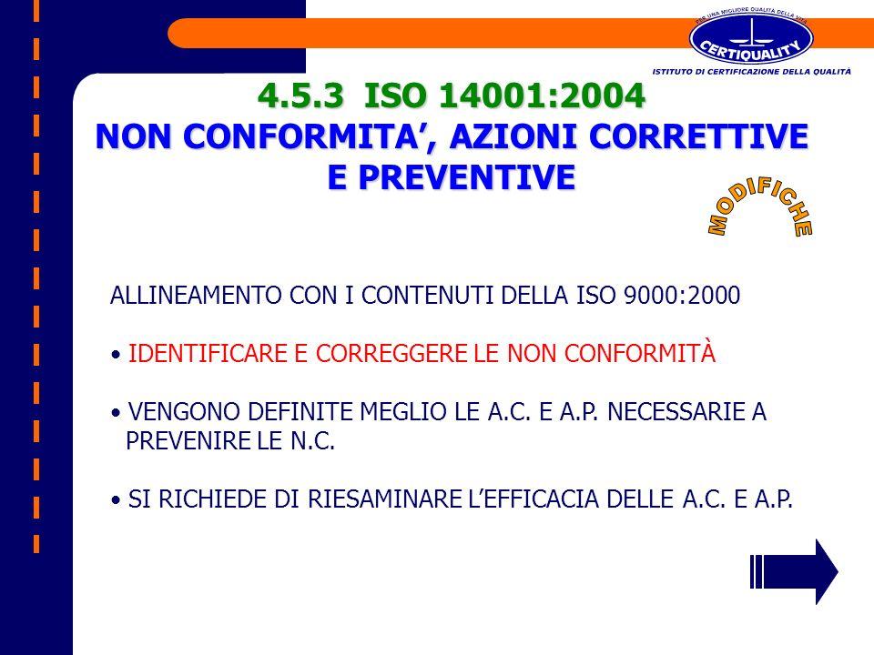 4.5.3 ISO 14001:2004 NON CONFORMITA, AZIONI CORRETTIVE E PREVENTIVE ALLINEAMENTO CON I CONTENUTI DELLA ISO 9000:2000 IDENTIFICARE E CORREGGERE LE NON