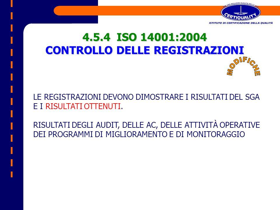 4.5.4 ISO 14001:2004 CONTROLLO DELLE REGISTRAZIONI LE REGISTRAZIONI DEVONO DIMOSTRARE I RISULTATI DEL SGA E I RISULTATI OTTENUTI. RISULTATI DEGLI AUDI