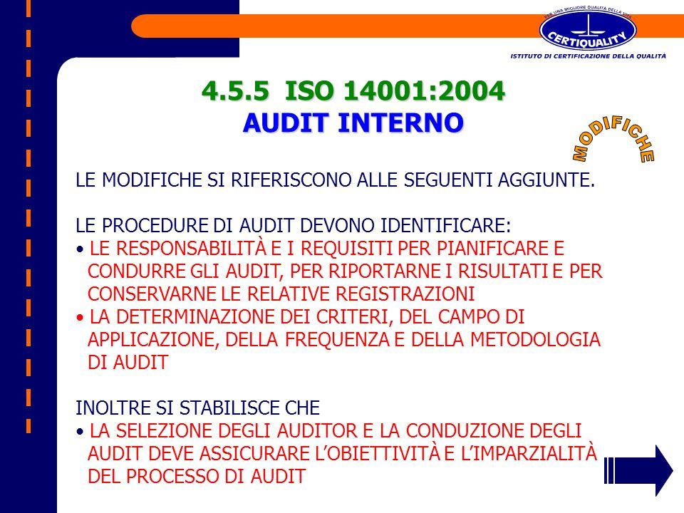 4.5.5 ISO 14001:2004 AUDIT INTERNO LE MODIFICHE SI RIFERISCONO ALLE SEGUENTI AGGIUNTE. LE PROCEDURE DI AUDIT DEVONO IDENTIFICARE: LE RESPONSABILITÀ E