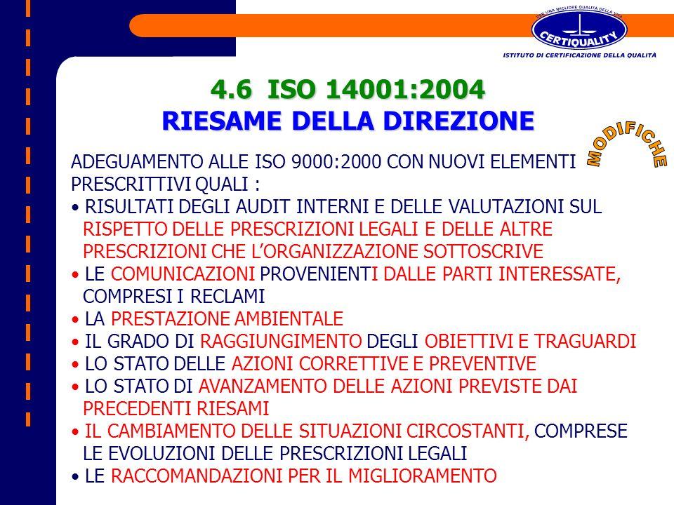 ADEGUAMENTO ALLE ISO 9000:2000 CON NUOVI ELEMENTI PRESCRITTIVI QUALI : RISULTATI DEGLI AUDIT INTERNI E DELLE VALUTAZIONI SUL RISPETTO DELLE PRESCRIZIO