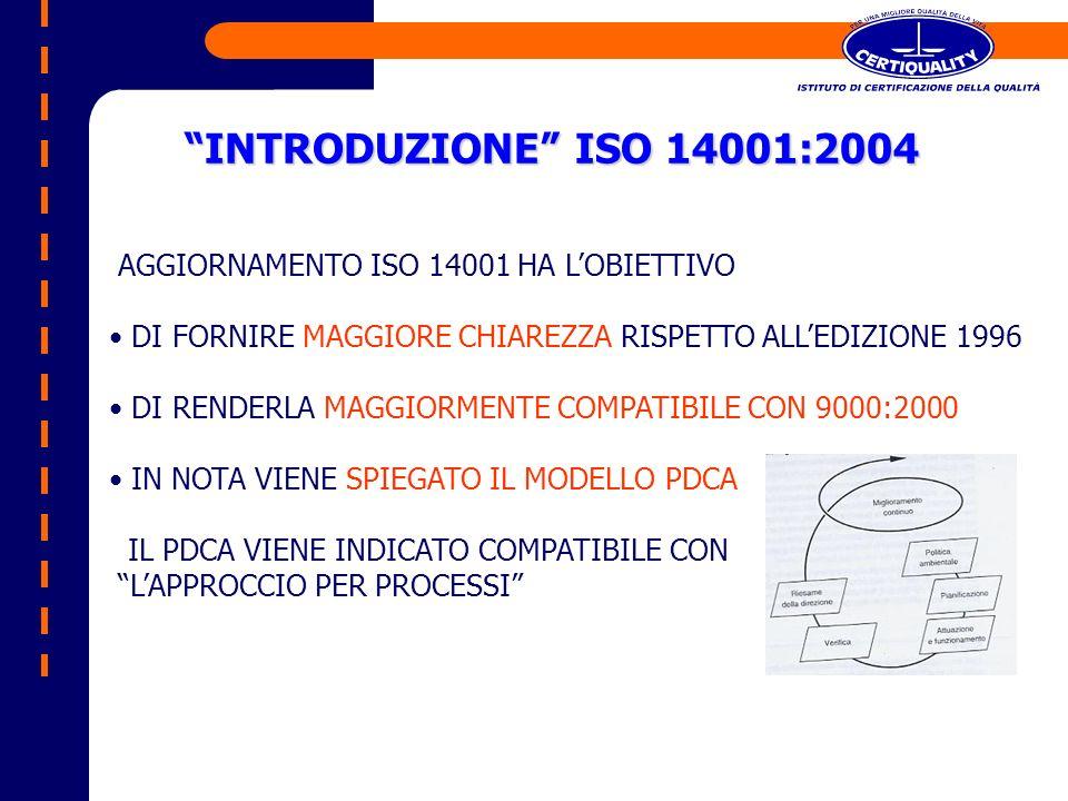 INTRODUZIONE ISO 14001:2004 AGGIORNAMENTO ISO 14001 HA LOBIETTIVO DI FORNIRE MAGGIORE CHIAREZZA RISPETTO ALLEDIZIONE 1996 DI RENDERLA MAGGIORMENTE COM