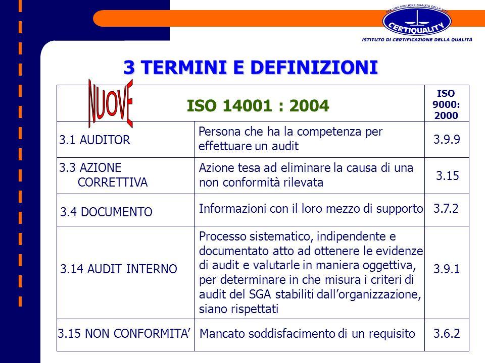 3 TERMINI E DEFINIZIONI ISO 9000: 2000 ISO 14001 : 2004 3.17 AZIONE PREVENTIVA Azione tesa ad eliminare la causa di una Non conformità potenziale 3.19 PROCEDURE Modo specificato per svolgere un attività o un processo 3.20 REGISTRAZIONE Documento che riporta i risultati conseguiti o che fornisce levidenza delle attività eseguite 3.6.4 3.4.5 3.7.6