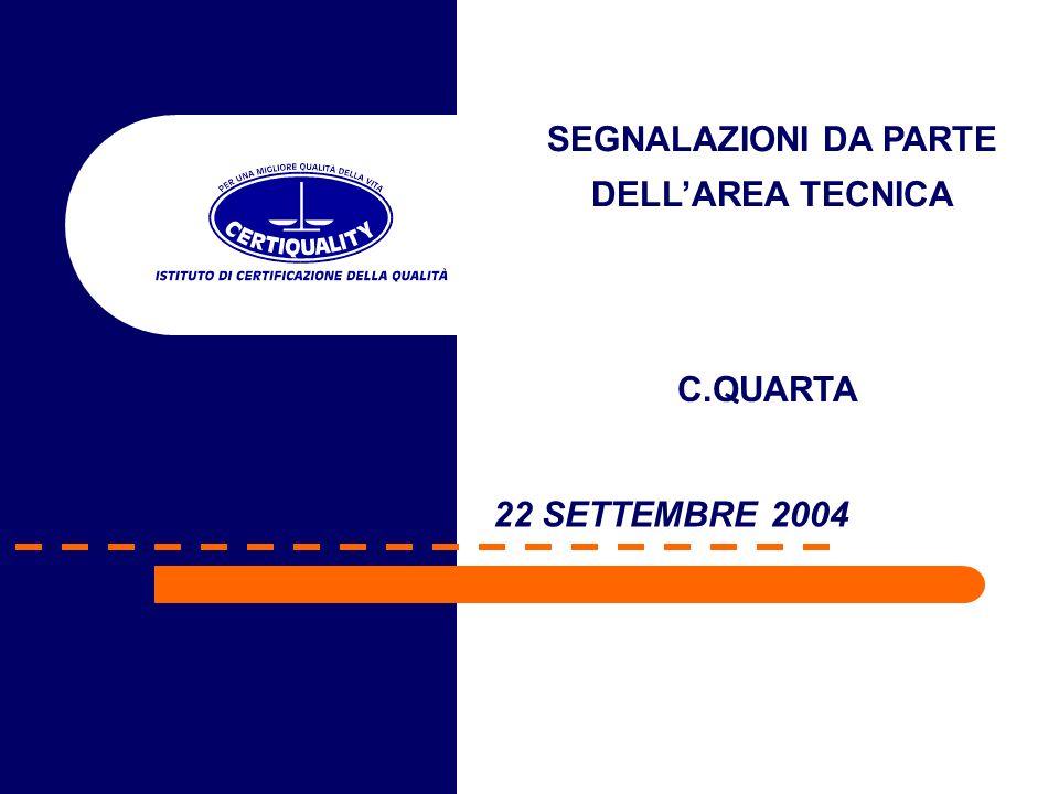 22 SETTEMBRE 2004 SEGNALAZIONI DA PARTE DELLAREA TECNICA C.QUARTA