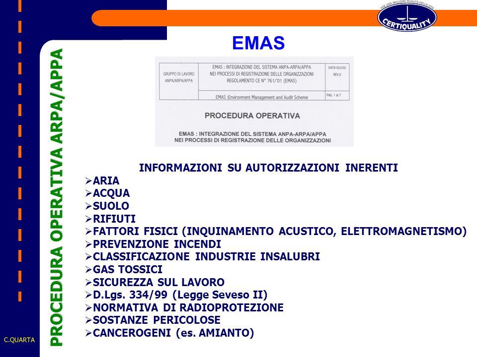 C.QUARTA INFORMAZIONI SU AUTORIZZAZIONI INERENTI ARIA ACQUA SUOLO RIFIUTI FATTORI FISICI (INQUINAMENTO ACUSTICO, ELETTROMAGNETISMO) PREVENZIONE INCENDI CLASSIFICAZIONE INDUSTRIE INSALUBRI GAS TOSSICI SICUREZZA SUL LAVORO D.Lgs.