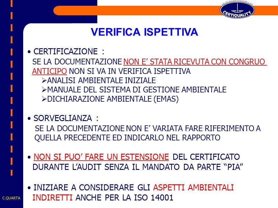 CERTIFICAZIONE : SE LA DOCUMENTAZIONE NON E STATA RICEVUTA CON CONGRUO ANTICIPO NON SI VA IN VERIFICA ISPETTIVA ANALISI AMBIENTALE INIZIALE MANUALE DEL SISTEMA DI GESTIONE AMBIENTALE DICHIARAZIONE AMBIENTALE (EMAS) SORVEGLIANZA : SE LA DOCUMENTAZIONE NON E VARIATA FARE RIFERIMENTO A QUELLA PRECEDENTE ED INDICARLO NEL RAPPORTO NON SI PUO FARE UN ESTENSIONE DEL CERTIFICATO DURANTE LAUDIT SENZA IL MANDATO DA PARTE PIA INIZIARE A CONSIDERARE GLI ASPETTI AMBIENTALI INDIRETTI ANCHE PER LA ISO 14001 VERIFICA ISPETTIVA