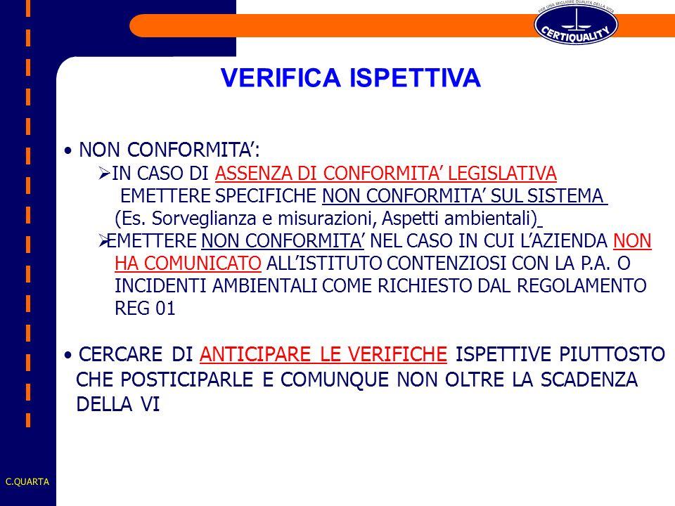 C.QUARTA NON CONFORMITA: IN CASO DI ASSENZA DI CONFORMITA LEGISLATIVA EMETTERE SPECIFICHE NON CONFORMITA SUL SISTEMA (Es.