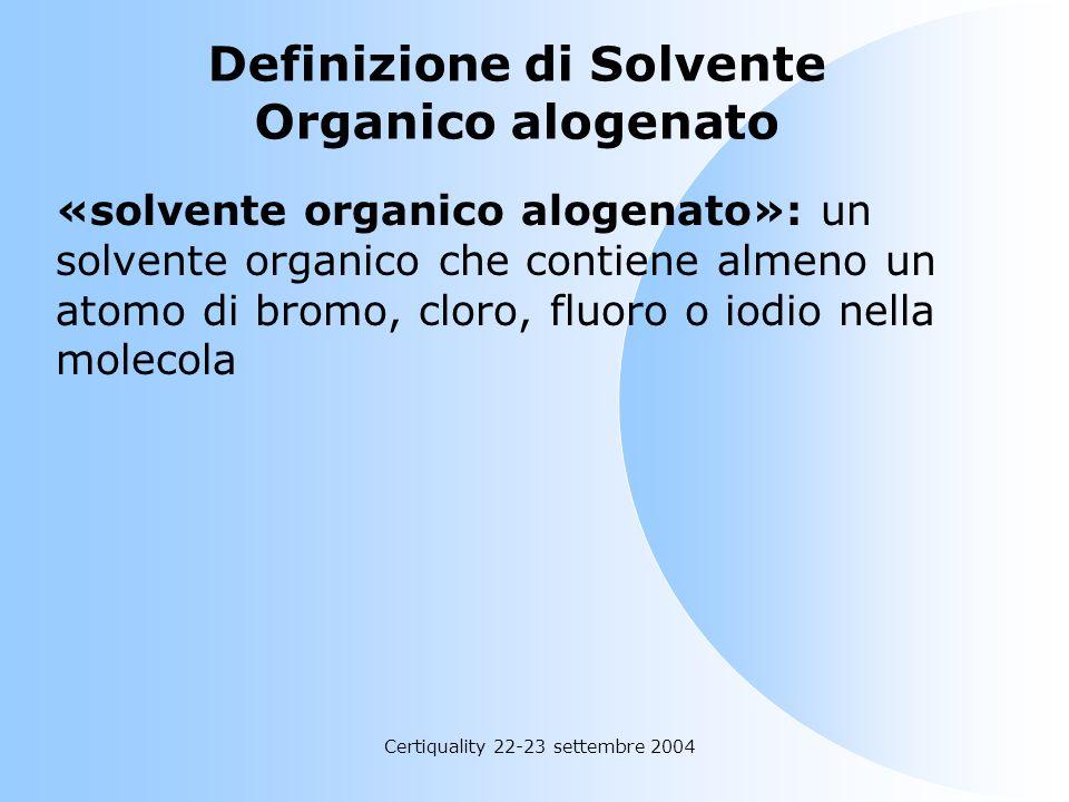 Certiquality 22-23 settembre 2004 Definizione di Solvente Organico «solvente organico»: qualsiasi COV usato da solo o in combinazione con altri agenti