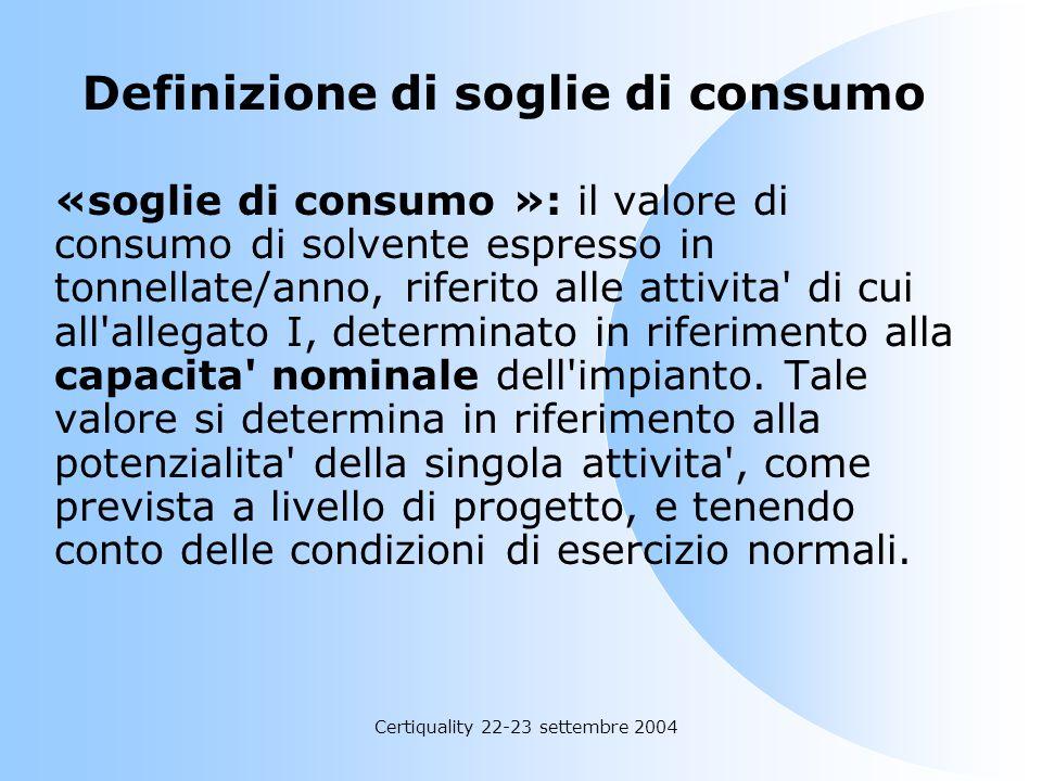 Certiquality 22-23 settembre 2004 Definizione di Solvente Organico alogenato «solvente organico alogenato»: un solvente organico che contiene almeno u