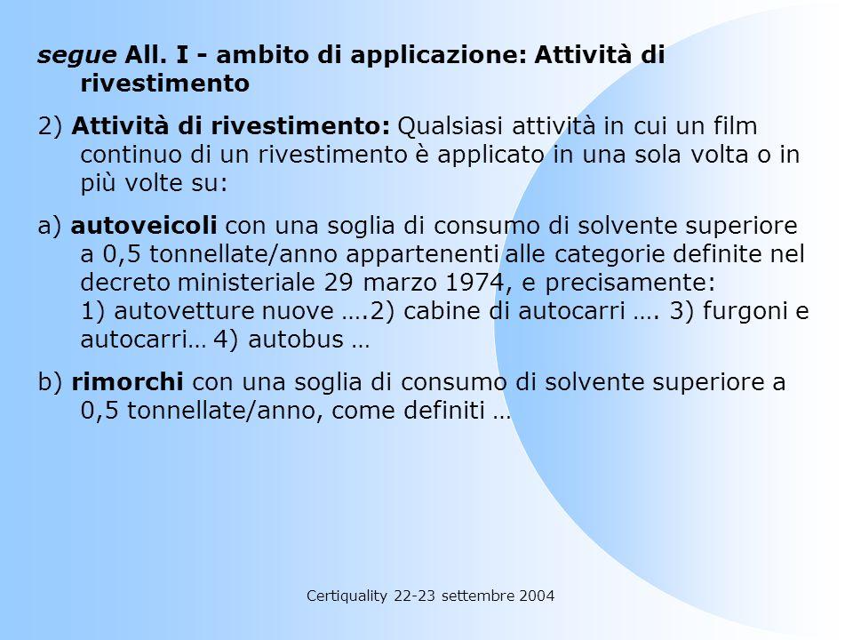 Certiquality 22-23 settembre 2004 All. I: ambito di applicazione Il presente allegato individua le categorie di attività e le soglie minime di consumo