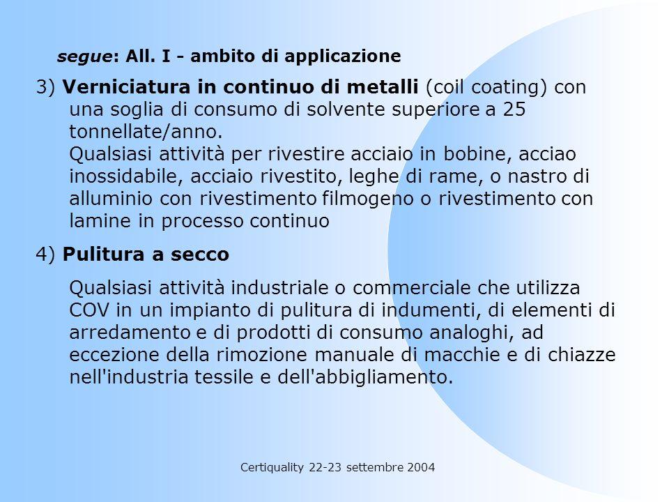 Certiquality 22-23 settembre 2004 segue: All. I - ambito di applicazione: Attività di rivestimento c) superfici metalliche e di plastica (comprese le
