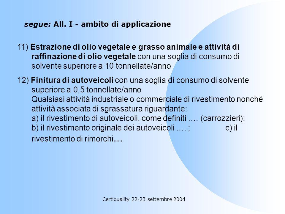Certiquality 22-23 settembre 2004 segue: All. I - ambito di applicazione 10) Pulizia di superficie con una soglia di consumo di solvente superiore a 1
