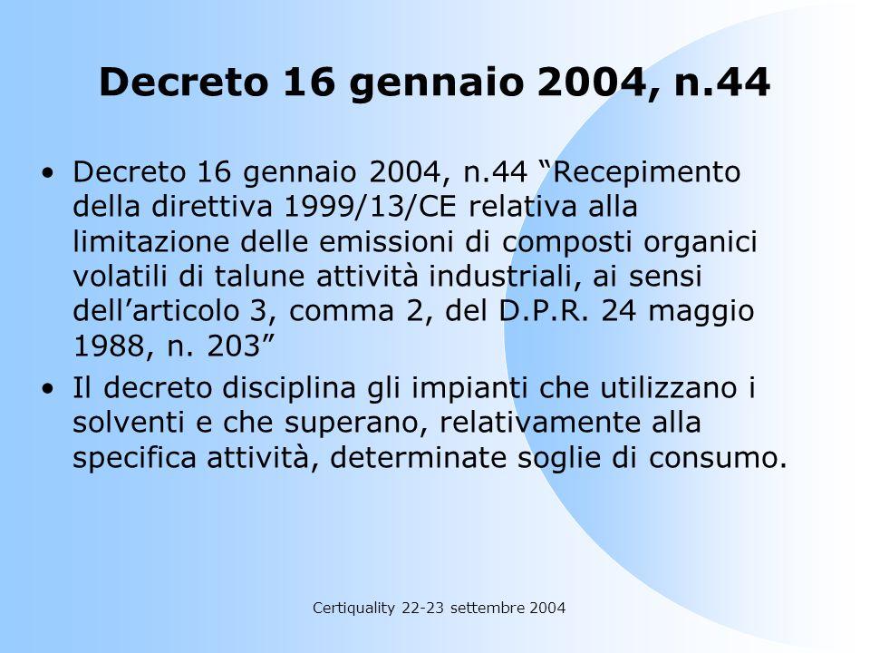 Certiquality 22-23 settembre 2004 Emissioni di COV, novità normative e modalità di gestione I. Cavallotti