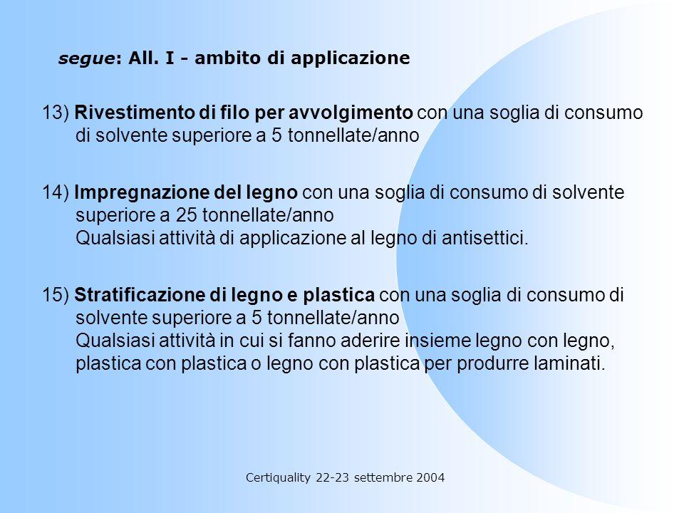 Certiquality 22-23 settembre 2004 segue: All. I - ambito di applicazione 11) Estrazione di olio vegetale e grasso animale e attività di raffinazione d
