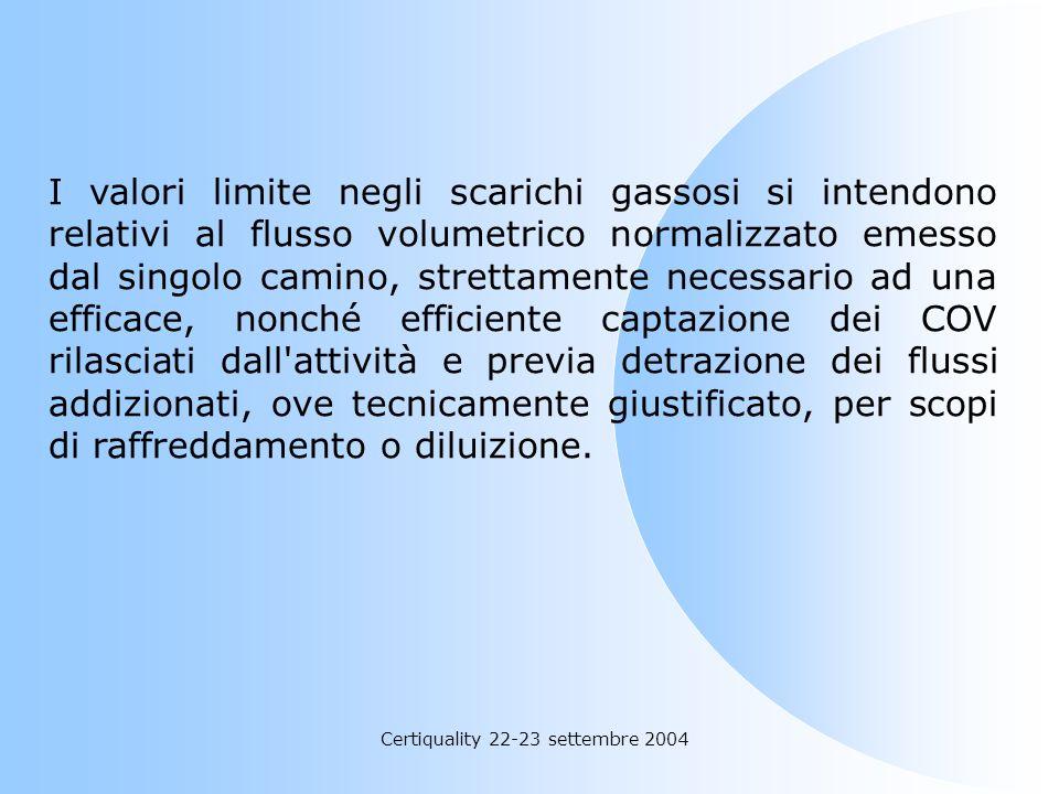 Certiquality 22-23 settembre 2004 «scarichi gassosi»: gli effluenti gassosi finali contenenti composti organici volatili o altri inquinanti, emessi ne