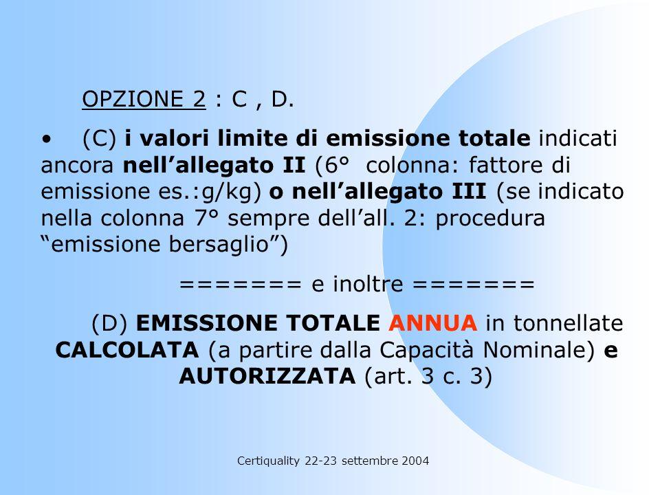 Certiquality 22-23 settembre 2004 OPZIONE 1 : (A+B), D. (A) Valori limite di emissione negli scarichi gassosi (concentrazione di COV in carbonio organ