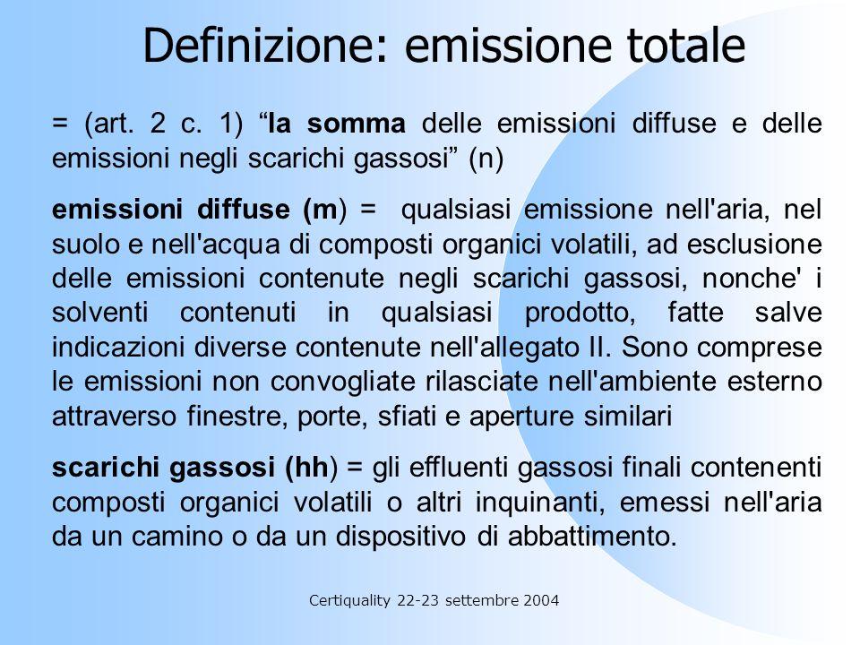 Certiquality 22-23 settembre 2004 OPZIONE 2 : C, D. (C) i valori limite di emissione totale indicati ancora nellallegato II (6° colonna: fattore di em